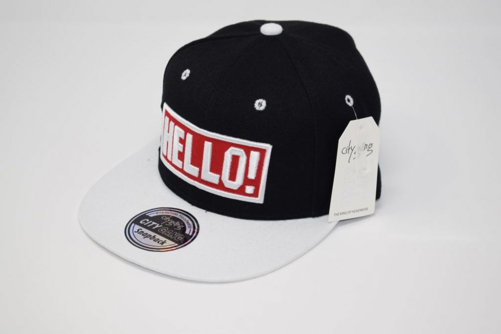 C4891, 'HELLO' Black/white City Gange Snapback Caps  fits all sizes, 20% cotton and 80% polyester